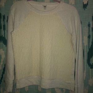 J.Crew raglan gray cream cable sweatshirt S